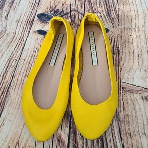 Zara trafaluc yellow leather flats 3540/301/090